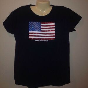 Made In The USA American Flag Red White Blue Tee